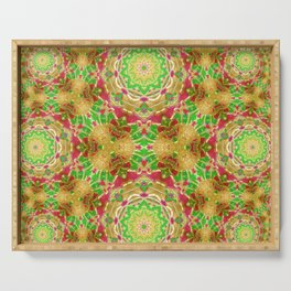 Red gold and green kaleidoscopic design Serving Tray