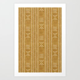 mustard mud cloth - arrow cross Art Print