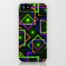 Bright diamonds and squares with highlights in the intersection on a green background. iPhone Case