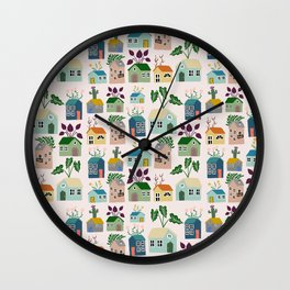 Tiny Cottages with plants Wall Clock