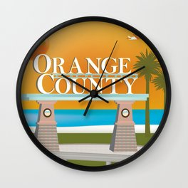 Orange County, California - Skyline Illustration by Loose Petals Wall Clock