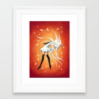 swan Framed Art Prints featuring Swan by Freeminds