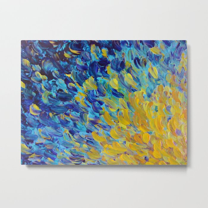 AQUATIC MELODY - Lovely Bright Abstract Ocean Waves Acrylic Painting Colorful Rainbow Beach Gift Art Metal Print