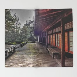 Japanese Garden Pavilion Throw Blanket
