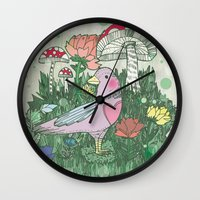woodland Wall Clocks featuring Woodland by Jo Cheung Illustration