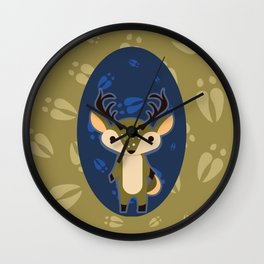 Deer with Hoof Prints Wall Clock