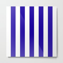 Neon blue - solid color - white vertical lines pattern Metal Print