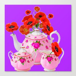 DECORATIVE PORCELAIN & RED  POPPIES FLORA  ART Canvas Print