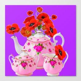 DECORATIVE PORCELAIN & RED  POPPIES FLORA  ART Canvas Print