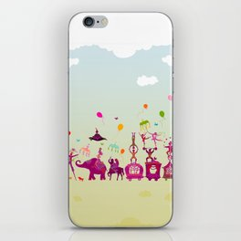 colorful circus carnival traveling in one row during daylight iPhone Skin