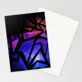 Abstract print of triangles polygon print. Bright dark design colors Stationery Cards