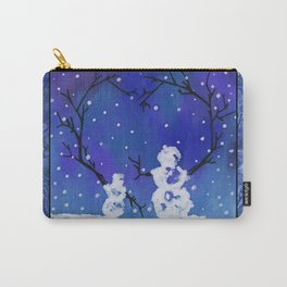 The Heart of Snowmen on a Winter Snowfall Day by annmariescreations Carry-All Pouch