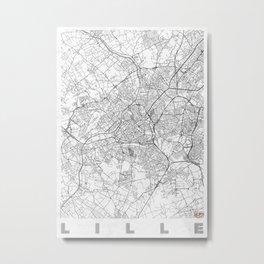 Lille Map Line Metal Print