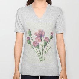Pink Carnations  Unisex V-Neck