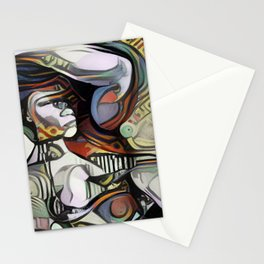 Fitness Woman Bicep Picasso Style Canvas Wall Art Stationery Cards