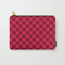 Crimson Red and Burgundy Red Checkerboard Carry-All Pouch
