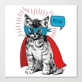 The Caped Purr-sader Canvas Print