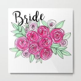 Bride Wedding Pink Roses Watercolor Metal Print