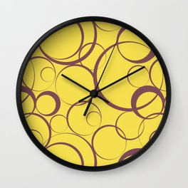 Red and Yellow Circle Pattern Pantone 2021 Color of the Year Illuminating 13-0647  Wall Clock