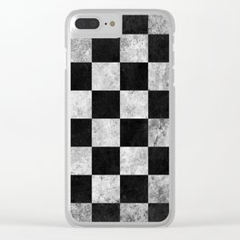 Black and White Checkered Grunge Pattern Clear iPhone Case