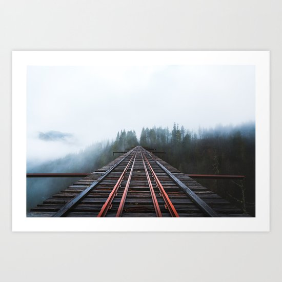 Abandoned Railroad Vance Creek Bridge - Olympic National Park, Washington Art Print
