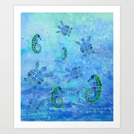 Sea Turtle Batik Art Print