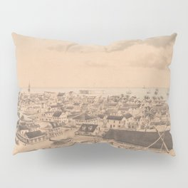 Vintage Pictorial Map of Key West FL (1855) Pillow Sham