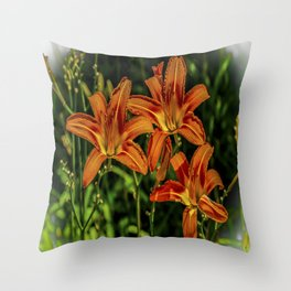 Orange Tiger Lily Trio Throw Pillow