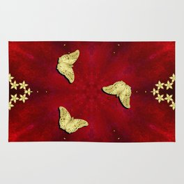 gold butterflies and flowers on red kaleidoscope Rug