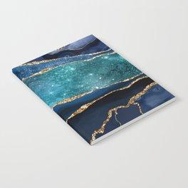 Blue Night Galaxy Marble Notebook
