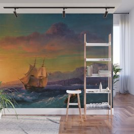 Ship at Sunset off of Cape Martin by Ivan Aivazovsky Wall Mural