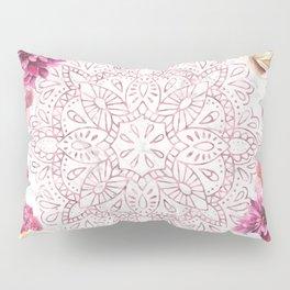 Rose Gold Mandala Garden on Marble Pillow Sham