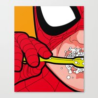 the secret life of heroes Canvas Prints featuring The secret life of heroes - SpiderBrush by Greg-guillemin