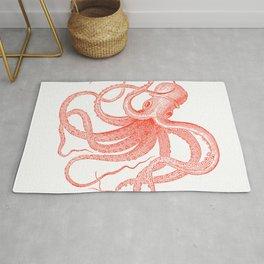 Coral-red octopus illustration Rug
