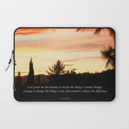 Serenity Prayer Sunset Red Clouds Laptop Sleeve