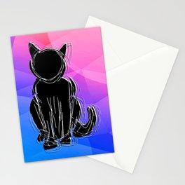 Black Cat - geometric background Stationery Cards