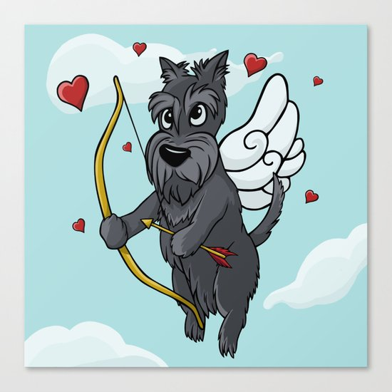 Cupid Scottish Terrier Canvas Print