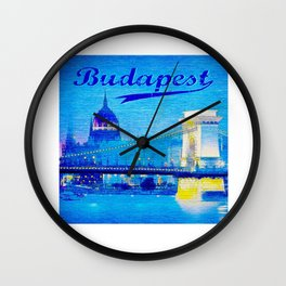 Budapest, light blue Wall Clock
