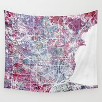 detroit Wall Tapestries featuring Detroit map by MapMapMaps.Watercolors