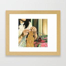Knitting Waffles Framed Art Print