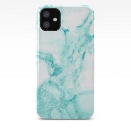 Teal Mermaid Glitter Marble iPhone Case