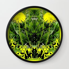 Green-Yellow  Gothic  Dandelions Architectural Fantasy Wall Clock