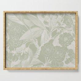 Floral, Rose, Vintage Print, Olive Green Serving Tray