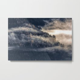 Calming Mountain Fog Scene Metal Print