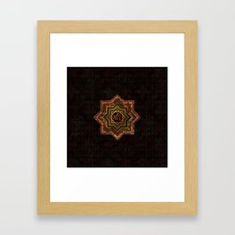 Red Gemstone and gold  Star of Lakshmi -  and Sri Framed Art Print