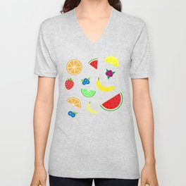 Vector Fruit Pattern Unisex V-Neck