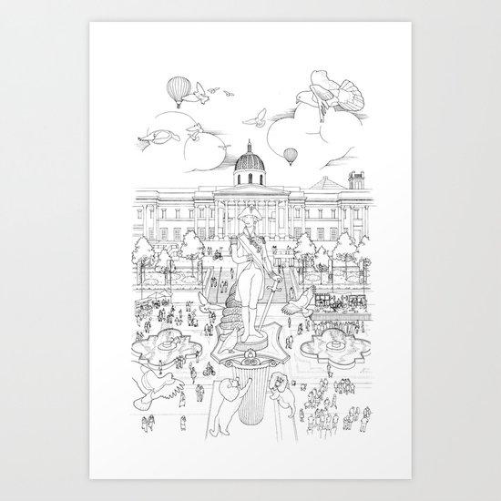 Pigeons Perspective Art Print
