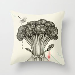 Mr. Broccoli Throw Pillow