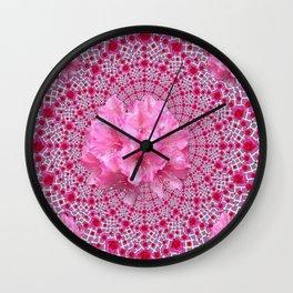 FUCHSIA OPTICAL PINK FLORAL PATTERN Wall Clock