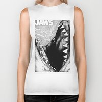 jaws Biker Tanks featuring Jaws by Sinpiggyhead